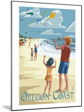 Oregon Coast - Kite Flyers-Lantern Press-Mounted Art Print