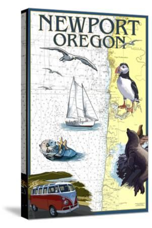 Newport, Oregon - Nautical Chart-Lantern Press-Stretched Canvas Print