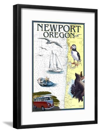 Newport, Oregon - Nautical Chart-Lantern Press-Framed Art Print