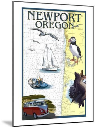 Newport, Oregon - Nautical Chart-Lantern Press-Mounted Art Print