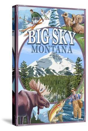 Big Sky, Montana - Scenes-Lantern Press-Stretched Canvas Print