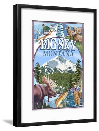 Big Sky, Montana - Scenes-Lantern Press-Framed Art Print