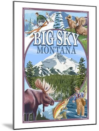 Big Sky, Montana - Scenes-Lantern Press-Mounted Art Print