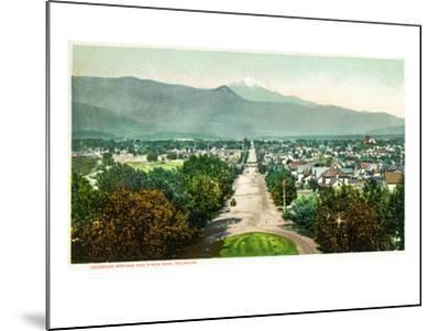 Colorado Springs, Colorado - Panoramic View of Town with Pikes Peak-Lantern Press-Mounted Art Print