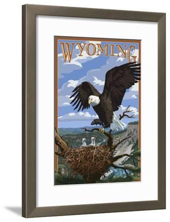 Eagle and Chicks - Wyoming-Lantern Press-Framed Art Print