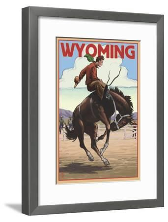 Cowboy and Bronco Scene - Wyoming-Lantern Press-Framed Art Print