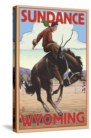 Cowboy and Bronco Scene - Sundance, Wyoming-Lantern Press-Stretched Canvas Print