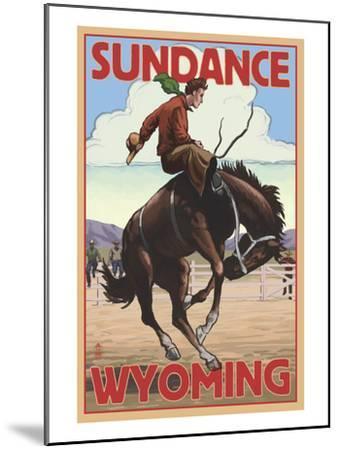 Cowboy and Bronco Scene - Sundance, Wyoming-Lantern Press-Mounted Art Print