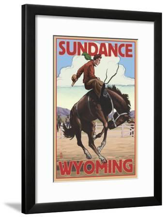 Cowboy and Bronco Scene - Sundance, Wyoming-Lantern Press-Framed Art Print