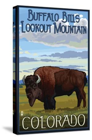 Buffalo Bills Lookout Mountain, Colorado - Bison Scene-Lantern Press-Stretched Canvas Print