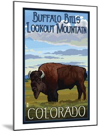 Buffalo Bills Lookout Mountain, Colorado - Bison Scene-Lantern Press-Mounted Art Print