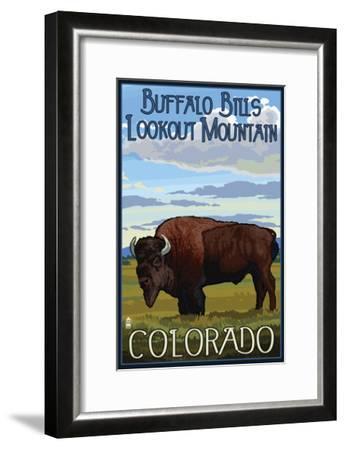 Buffalo Bills Lookout Mountain, Colorado - Bison Scene-Lantern Press-Framed Art Print
