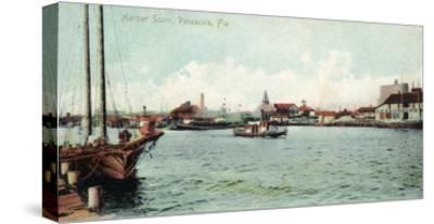 Pensacola, Florida - Harbor Scene-Lantern Press-Stretched Canvas Print