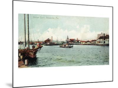 Pensacola, Florida - Harbor Scene-Lantern Press-Mounted Art Print