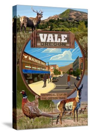 Vale, Oregon - Town Scenes Montage-Lantern Press-Stretched Canvas Print