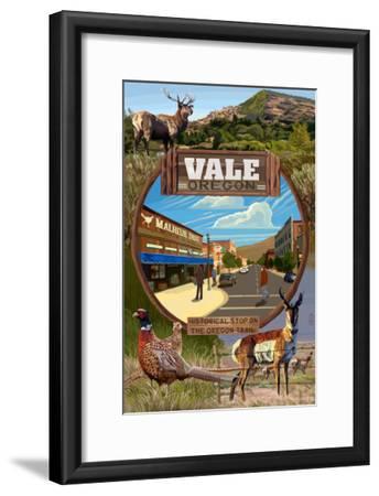 Vale, Oregon - Town Scenes Montage-Lantern Press-Framed Art Print