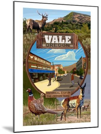 Vale, Oregon - Town Scenes Montage-Lantern Press-Mounted Art Print