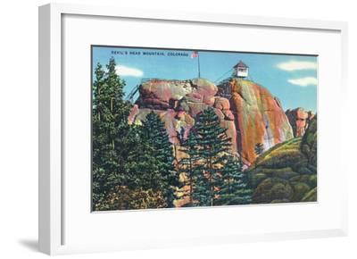 Colorado - View of Devil's Head Mountain Lookout Tower-Lantern Press-Framed Art Print
