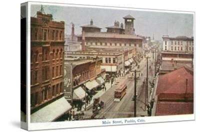 Pueblo, Colorado - Panoramic View of Main Street-Lantern Press-Stretched Canvas Print