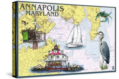 Annapolis, Maryland - Nautical Chart-Lantern Press-Stretched Canvas Print