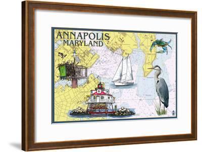 Annapolis, Maryland - Nautical Chart-Lantern Press-Framed Art Print