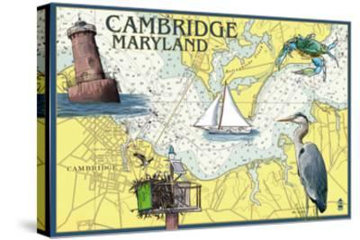 Cambridge, Maryland - Nautical Chart-Lantern Press-Stretched Canvas Print