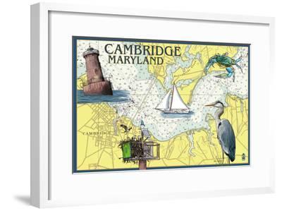 Cambridge, Maryland - Nautical Chart-Lantern Press-Framed Art Print