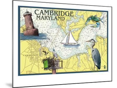 Cambridge, Maryland - Nautical Chart-Lantern Press-Mounted Art Print