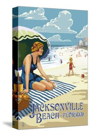 Jacksonville, Florida - Woman and Beach Scene-Lantern Press-Stretched Canvas Print