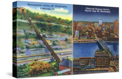Pittsburgh, Pennsylvania - View of Monongahela Incline on Mt. Washington-Lantern Press-Stretched Canvas Print