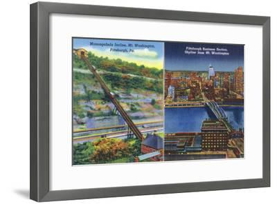 Pittsburgh, Pennsylvania - View of Monongahela Incline on Mt. Washington-Lantern Press-Framed Art Print