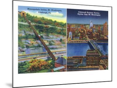 Pittsburgh, Pennsylvania - View of Monongahela Incline on Mt. Washington-Lantern Press-Mounted Art Print