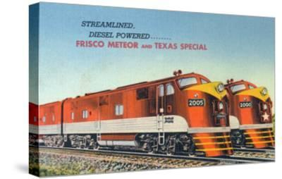 Texas - View of the Frisco Meteor and Texas Special Trains-Lantern Press-Stretched Canvas Print