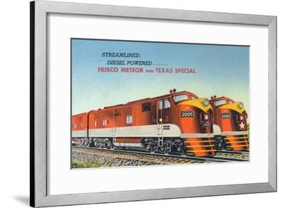 Texas - View of the Frisco Meteor and Texas Special Trains-Lantern Press-Framed Art Print