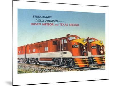 Texas - View of the Frisco Meteor and Texas Special Trains-Lantern Press-Mounted Art Print