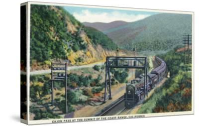 California - View of a Train in Cajon Pass-Lantern Press-Stretched Canvas Print