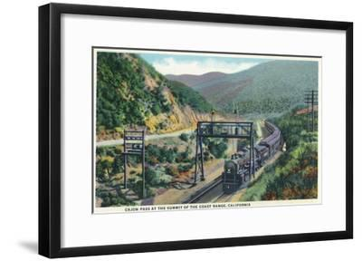California - View of a Train in Cajon Pass-Lantern Press-Framed Art Print