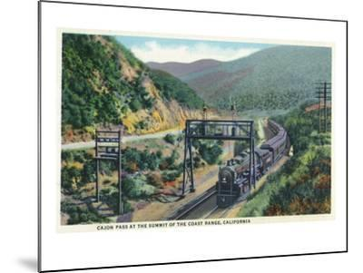 California - View of a Train in Cajon Pass-Lantern Press-Mounted Art Print