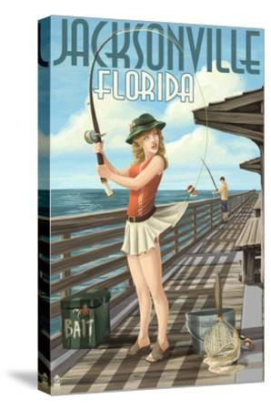 Jacksonville, Florida - Fishing Pinup Girl-Lantern Press-Stretched Canvas Print