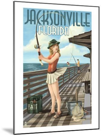 Jacksonville, Florida - Fishing Pinup Girl-Lantern Press-Mounted Art Print