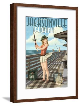 Jacksonville, Florida - Fishing Pinup Girl-Lantern Press-Framed Art Print