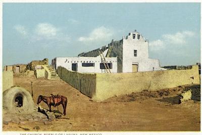 Laguna Pueblo, New Mexico - View of the Church-Lantern Press-Stretched Canvas Print