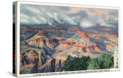 Grand Canyon Nat'l Park, Arizona - Powell Point View of a Canyon Storm-Lantern Press-Stretched Canvas Print
