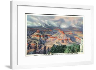 Grand Canyon Nat'l Park, Arizona - Powell Point View of a Canyon Storm-Lantern Press-Framed Art Print