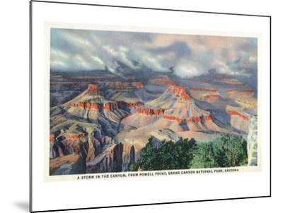 Grand Canyon Nat'l Park, Arizona - Powell Point View of a Canyon Storm-Lantern Press-Mounted Art Print
