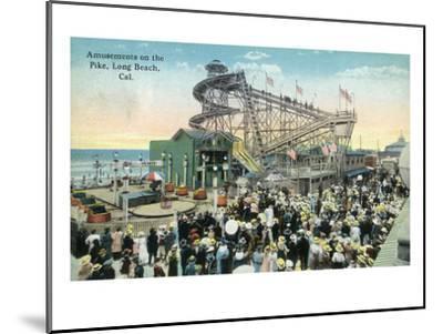 Long Beach, California - View of Amusement Rides Along the Pike-Lantern Press-Mounted Art Print