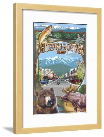Whitefish, Montana Town Views-Lantern Press-Framed Art Print