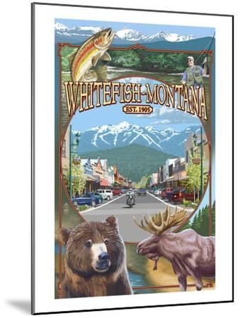 Whitefish, Montana Town Views-Lantern Press-Mounted Art Print