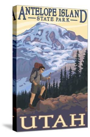Antelope Island State Park, Utah - Hiking Scene-Lantern Press-Stretched Canvas Print