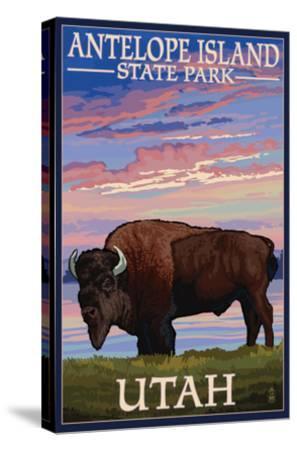Antelope Island State Park, Utah - Bison and Sunset-Lantern Press-Stretched Canvas Print